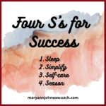 Four S's for a More Successful Year